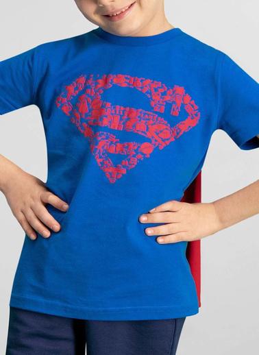 Superman  Lisanslı Saks Mavi Erkek Çocuk Bermuda Takım Mavi